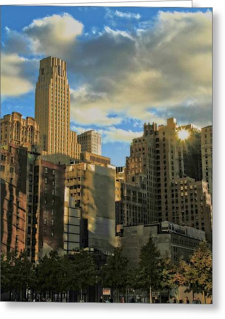 Grand Memories Greeting Cards - Manhattan From The 911 Memorial Greeting Card by Dan Sproul