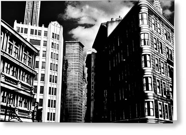 Manhattan Highlights B W Greeting Card by Benjamin Yeager
