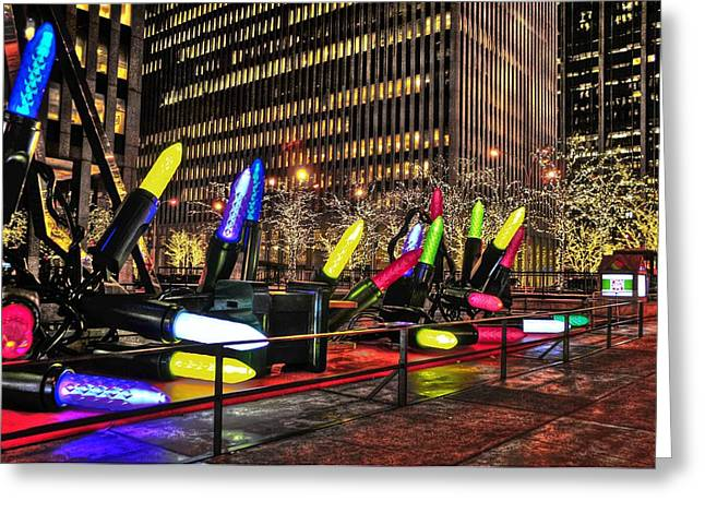 Holiday Decoration Greeting Cards - Manhattan Holiday Decorations Greeting Card by Randy Aveille
