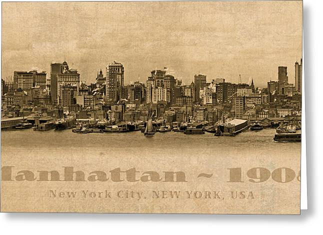 Manhattan Mixed Media Greeting Cards - Manhattan Island New York City USA Postcard 1908 Waterfront and Skyscrapers Greeting Card by Design Turnpike