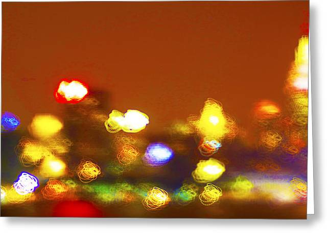 Decor Photography Pyrography Greeting Cards - Manhattan lights Greeting Card by Habib Ayat
