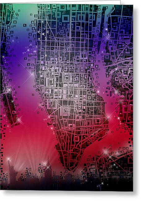 Manhattan Map Abstract 4 Greeting Card by Bekim Art