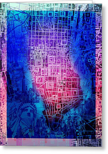 Manhattan Map Abstract 5 Greeting Card by Bekim Art