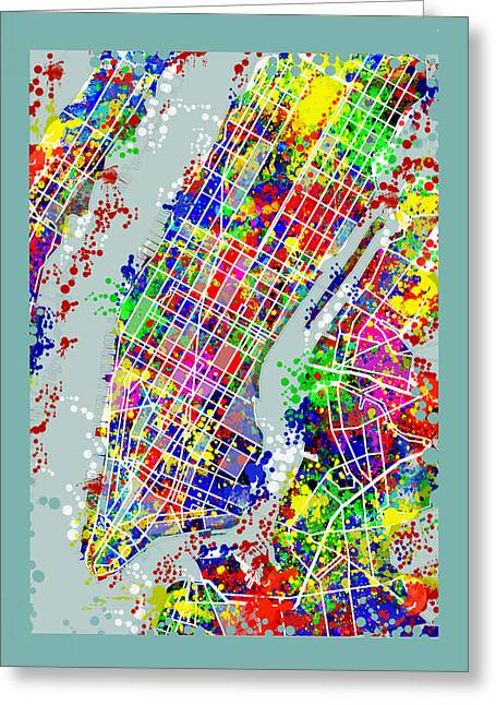Manhattan Map Abstract Greeting Card by Bekim Art