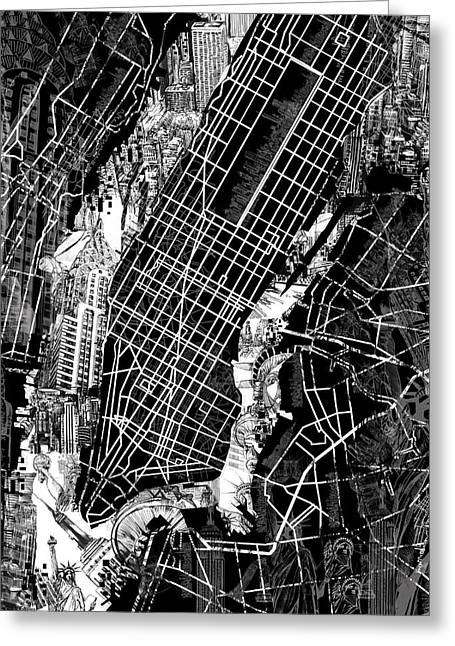 Manhattan Map Black And White Greeting Card by Bekim Art