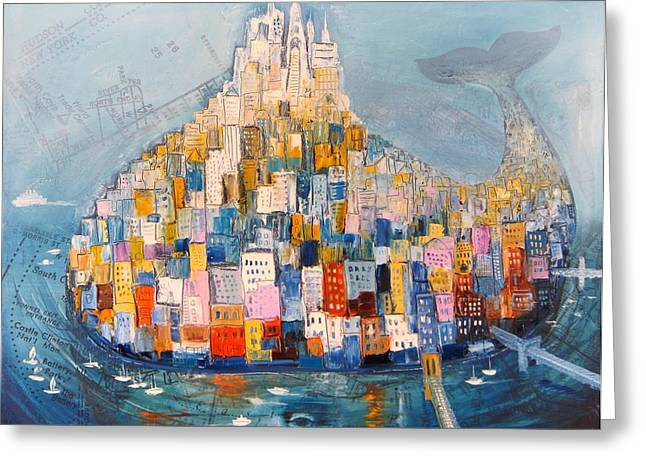 Wine Scene Mixed Media Greeting Cards - Manhattan Greeting Card by Mikhail Zarovny