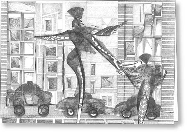 Manhattan Drawings Greeting Cards - Manhattan Mother Hailing Cab With Daughter Greeting Card by Vince MacDermot
