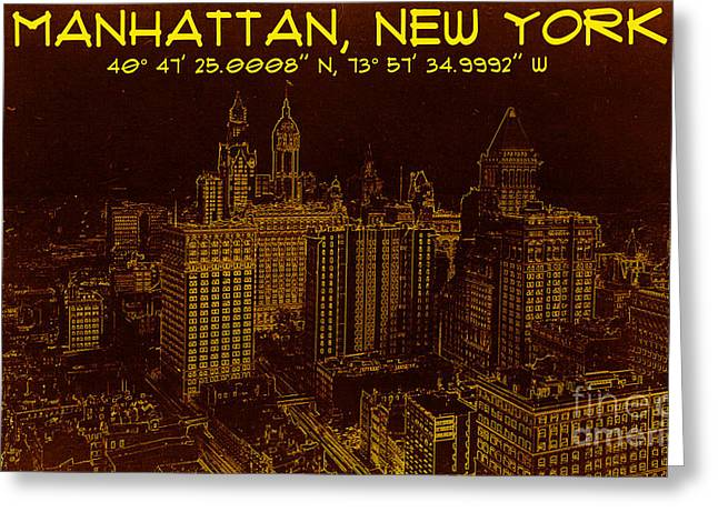 Gps Greeting Cards - Manhattan New York 1912 BluePrint GPS  Greeting Card by Celestial Images