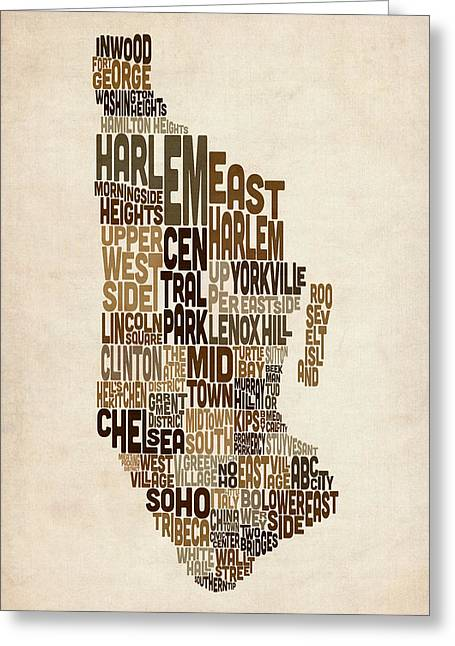 Manhattan Greeting Cards - Manhattan New York Typography Text Map Greeting Card by Michael Tompsett