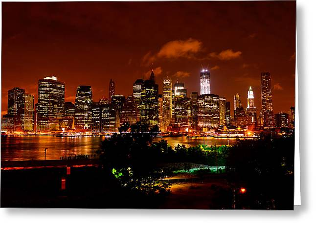 Brooklyn Promenade Greeting Cards - Manhattan NIght Skyline Greeting Card by Greg Norrell