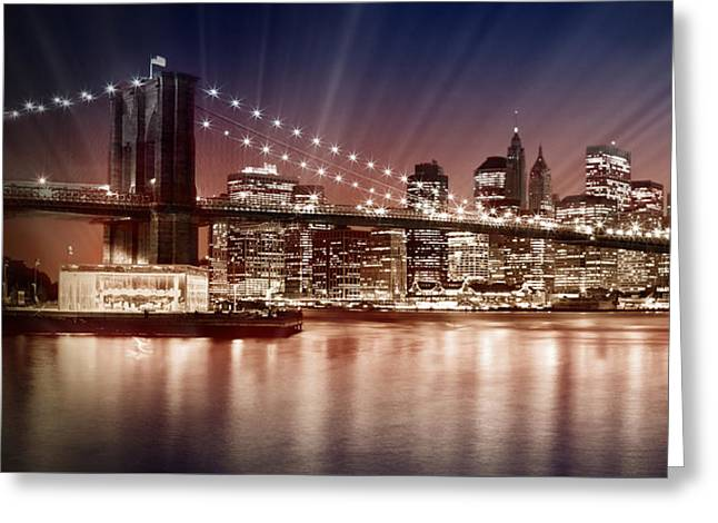 Sightseeing Digital Greeting Cards - Manhattan NYC - The Setting Sun Greeting Card by Melanie Viola