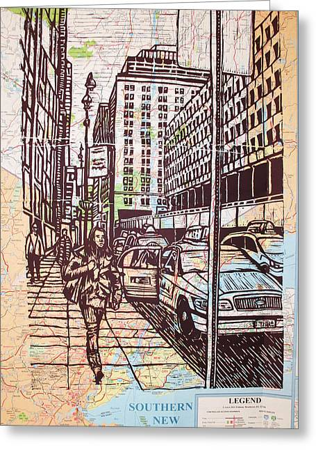 Lino Print Greeting Cards - Manhattan on Map Greeting Card by William Cauthern