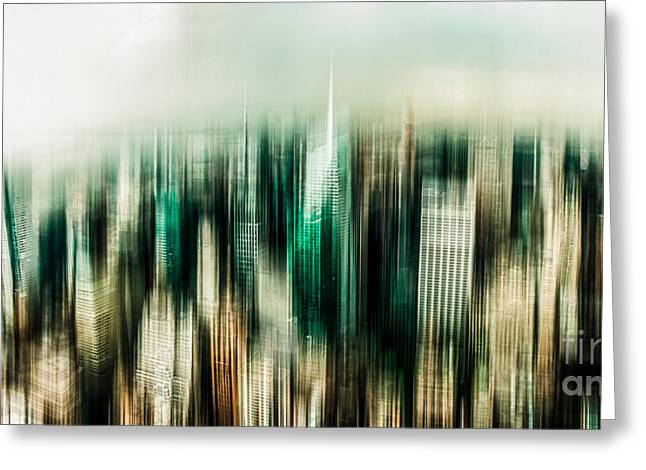 Times Square Digital Art Greeting Cards - Manhattan Panorama Abstract Greeting Card by Hannes Cmarits