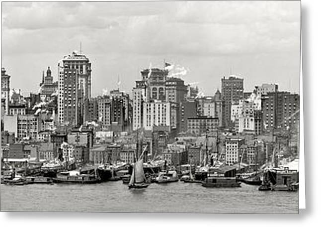 Manhattan Greeting Cards - Manhattan Panorama Circa 1908 Greeting Card by Jon Neidert