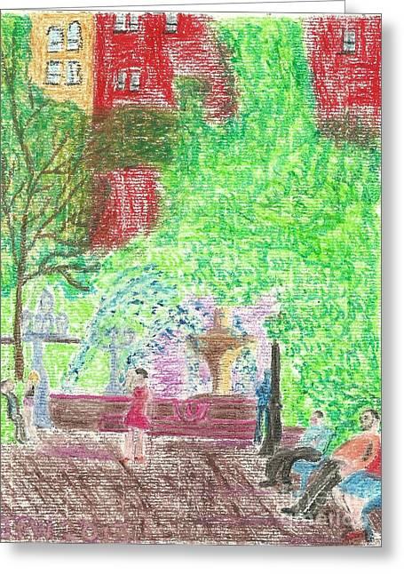 Manhattan Pastels Greeting Cards - Manhattan Park Greeting Card by John Williams
