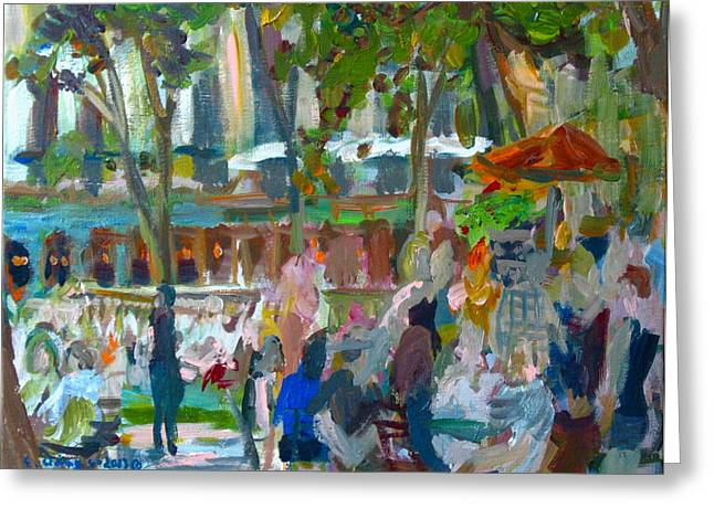 Bryant Paintings Greeting Cards - Manhattan Park Scene Greeting Card by Edward Ching