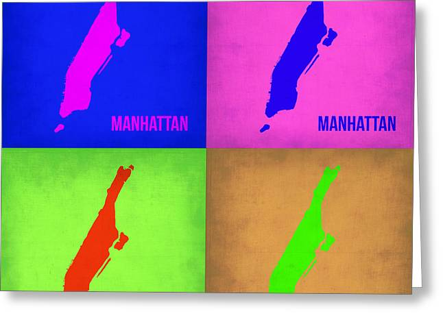 Nyc Posters Greeting Cards - Manhattan Pop Art Map 1 Greeting Card by Naxart Studio