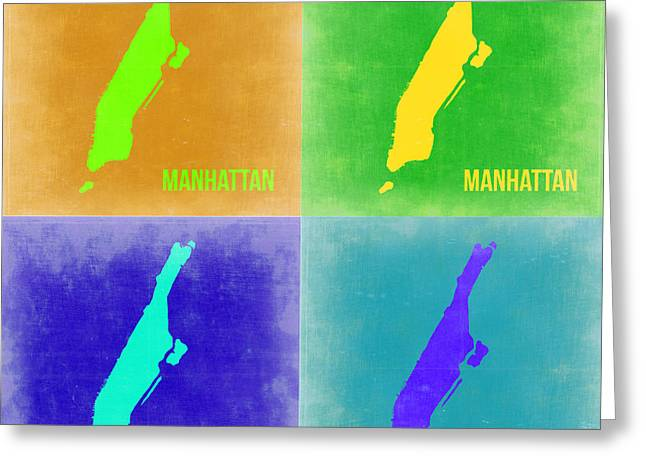 Nyc Posters Greeting Cards - Manhattan Pop Art Map 2 Greeting Card by Naxart Studio