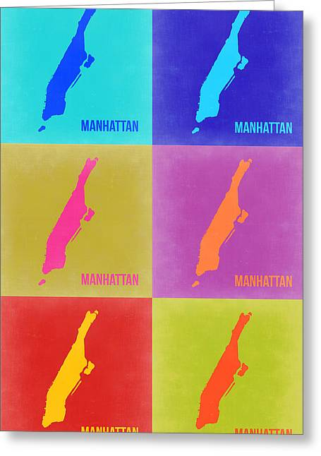 Nyc Posters Greeting Cards - Manhattan Pop Art Map 3 Greeting Card by Naxart Studio