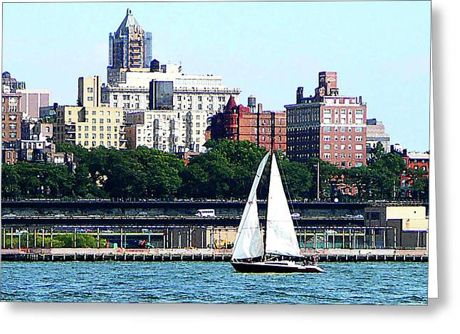 Sail Boats Greeting Cards - Manhattan - Sailboat Against Manhatten Skyline Greeting Card by Susan Savad