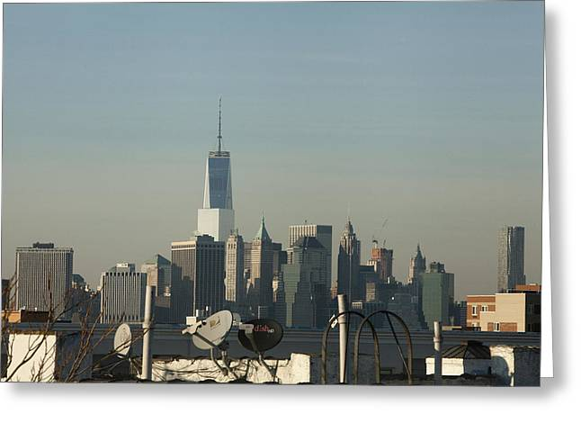 Manhattan Pyrography Greeting Cards - Manhattan Skyline from a distance Greeting Card by Aron Rocha