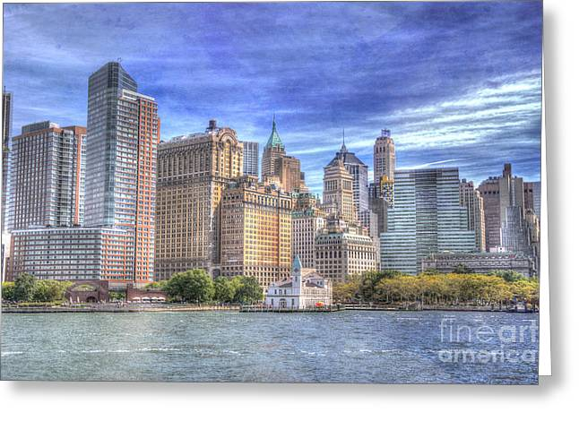 Manipulated Greeting Cards - Manhattan Skyline from Hudson River Greeting Card by Juli Scalzi