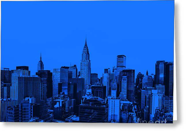 Manhattan Greeting Cards - Manhattan Skyline in Blue Greeting Card by Diane Diederich