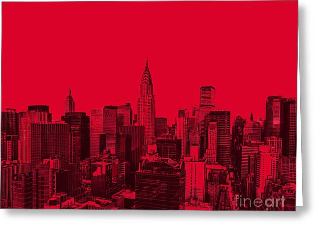 Manhattan Greeting Cards - Manhattan Skyline in Red Greeting Card by Diane Diederich