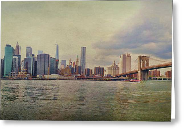 Glass Wall Greeting Cards - Manhattan Skyline Greeting Card by Paulette B Wright