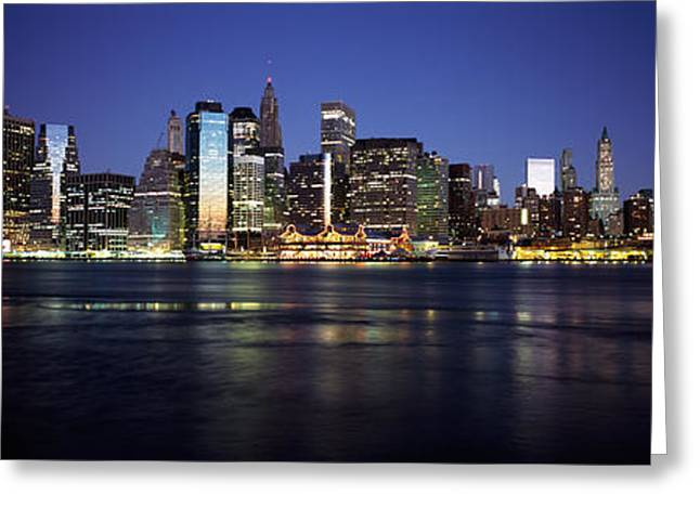 Fulton Greeting Cards - Manhattan Skyline Seen From Fulton Greeting Card by Panoramic Images