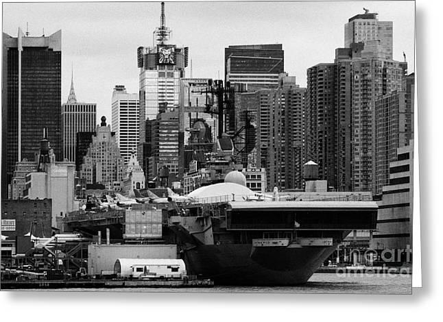 Manhatan Greeting Cards - manhattan skyline USS Intrepid Aircraft Carrier new york city Greeting Card by Joe Fox