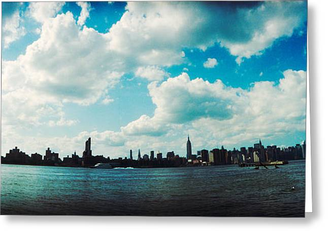Williamsburg Greeting Cards - Manhattan Skyline Viewed From East Greeting Card by Panoramic Images