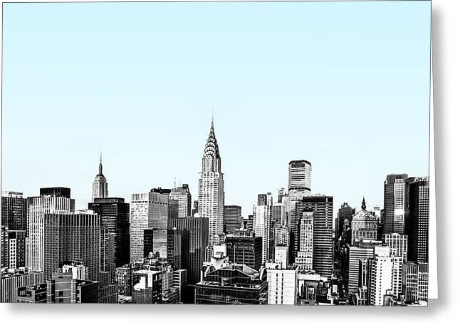 Manhattan Greeting Cards - Manhattan Skyline with Blue Gradient Greeting Card by Diane Diederich