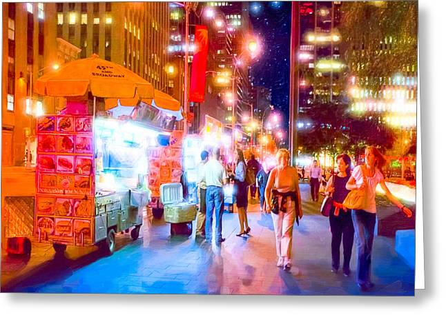 American Food Greeting Cards - Manhattan Streets at Night Greeting Card by Mark Tisdale