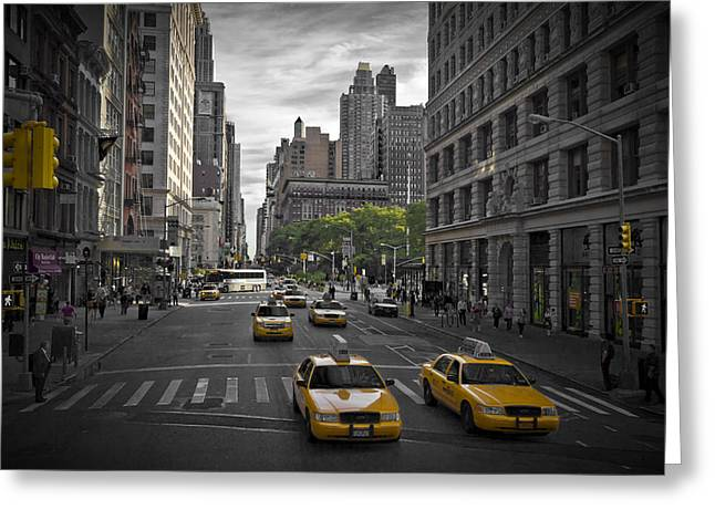 Angled Windows Greeting Cards - Manhattan Streetscene Greeting Card by Melanie Viola
