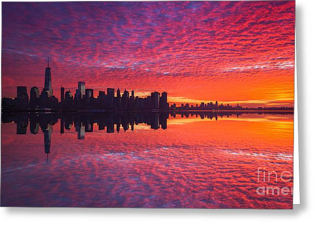 Amazing Sunset Greeting Cards - Manhattan Sunrise Version 2  Greeting Card by Michael Ver Sprill