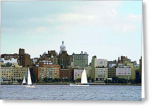Sail Boat Greeting Cards - Manhattan - Two Sailboats Against Manhattan Skyline Greeting Card by Susan Savad