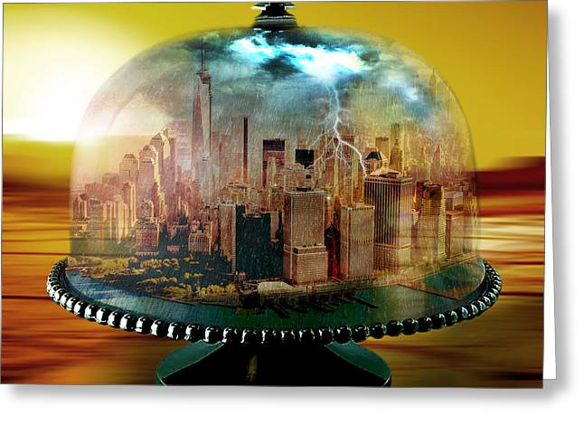 Weird Mixed Media Greeting Cards - Manhattan Under the Dome Greeting Card by Marian Voicu