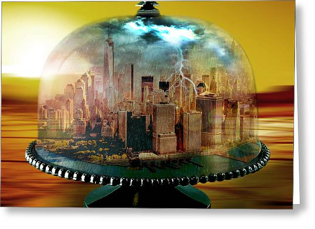 Digital Collage Greeting Cards - Manhattan Under the Dome Greeting Card by Marian Voicu
