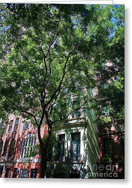 Shady Street Greeting Cards - Manhattan Upper East Side late summer Greeting Card by Andy Prendy