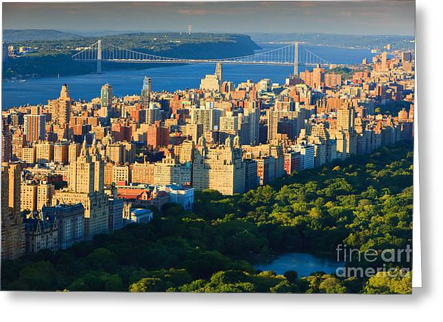 Rockefellar Greeting Cards - Manhattan View at Sunset Greeting Card by Henk Meijer Photography