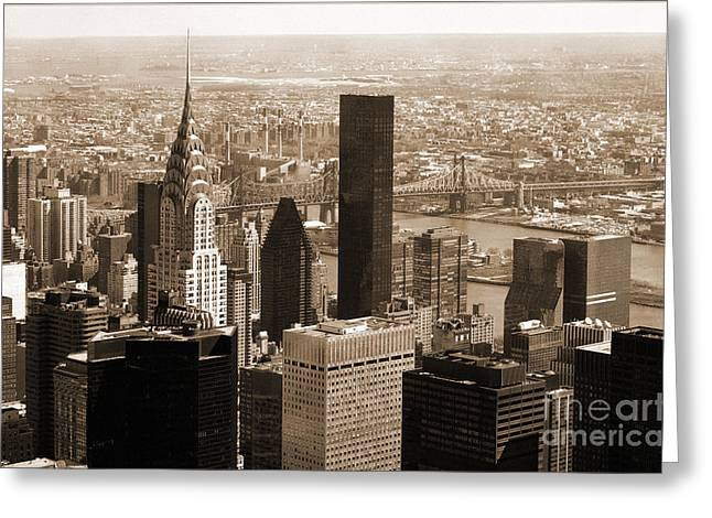 City Skylines Greeting Cards Greeting Cards - Manhattan Vintage  Greeting Card by RicardMN Photography