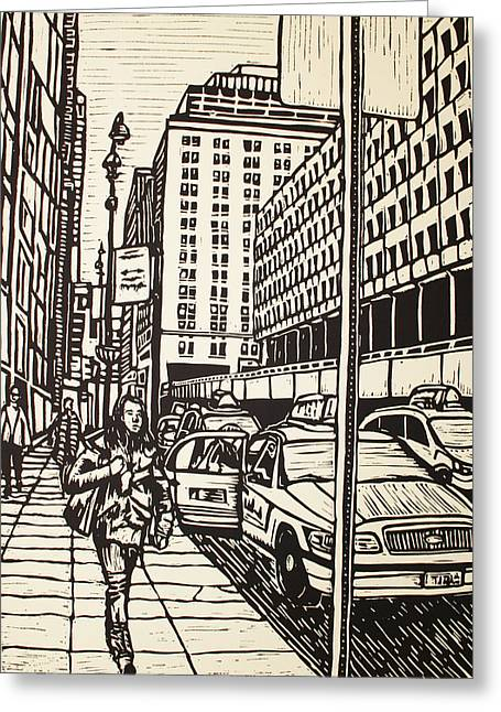 Lino Print Greeting Cards - Manhattan Greeting Card by William Cauthern