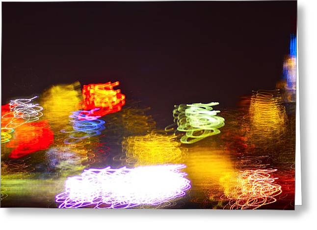 Decor Photography Pyrography Greeting Cards - Manhattan with lights Greeting Card by Habib Ayat