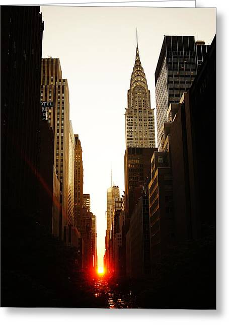 Nyc Architecture Greeting Cards - Manhattanhenge Sunset and the Chrysler Building  Greeting Card by Vivienne Gucwa