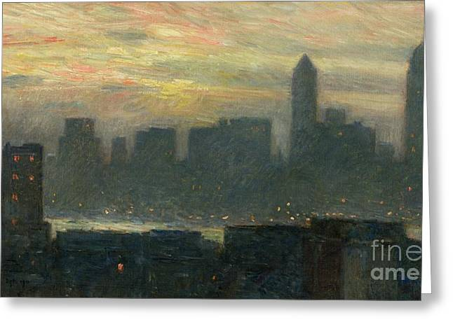 Times Square Paintings Greeting Cards - Manhattans Misty Sunset Greeting Card by Childe Hassam
