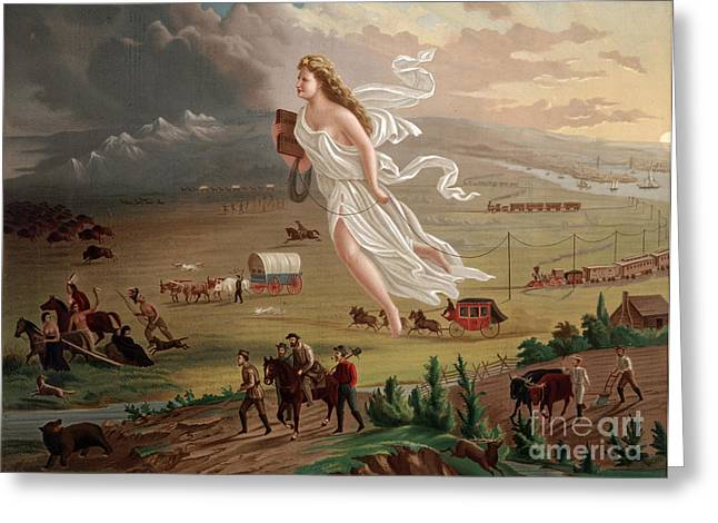 Westward Expansion Greeting Cards - Manifest Destiny 1873 Greeting Card by Photo Researchers