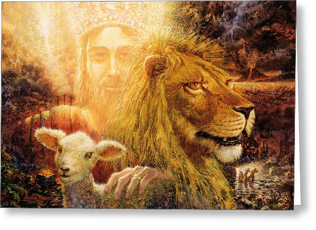 Lion Lamb Greeting Cards - Manifold Majesty Greeting Card by Graham Braddock