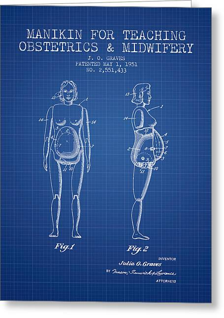 Pregnancy Greeting Cards - Manikin for Teaching Obstetrics and Midwifery Patent from 1951 - Greeting Card by Aged Pixel