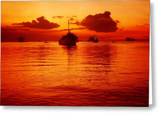 Ocean Art Photography Greeting Cards - Manila Bay Sunset Greeting Card by Joe  Connors